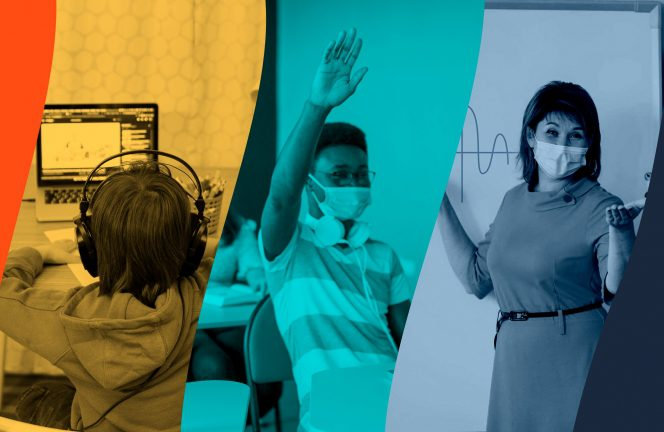 cover photo composite - student on laptop distance learning, student in mask in classroom with hand raised, teacher at whiteboard in mask